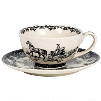 Black Toile Cup and Saucer