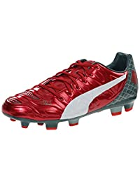 PUMA Men's Evopower 3.2 Graphic FG Soccer Shoe, High Risk Red/White/Sea Pine, 9 M US