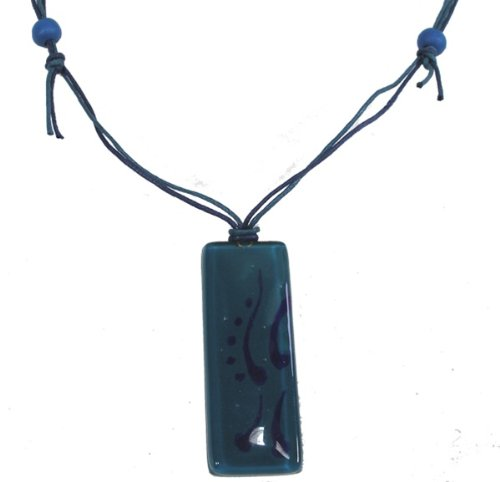Fused Glass Rectangular Pendant - Teal with Blue Design (Chile)