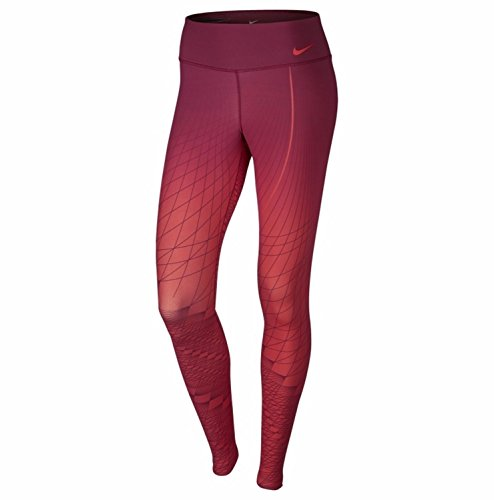 Nike Women's Power Legendary Printed Mid Rise Training Tights (Lt Crimson/Noble Red, Small)