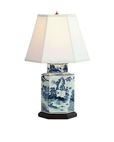 City Scape Canton Blue Lamp, Blue/White
