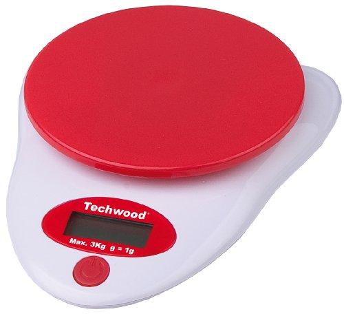TECHWOOD - Balance de Cuisine Digitale Blanc/Rouge