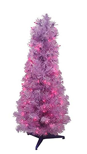 3' Purple Pencil Pine Pre-Lit Artificial Christmas Tree - Purple Lights