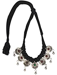 Sansar India Black Thread Oxidized Silver Plated Afghani Choker Necklace For Girls And Women