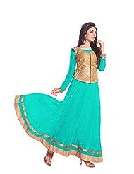 Trendz Apparels Turquoise 60 Gm Geogette Anarkali Suit Salwar Suit