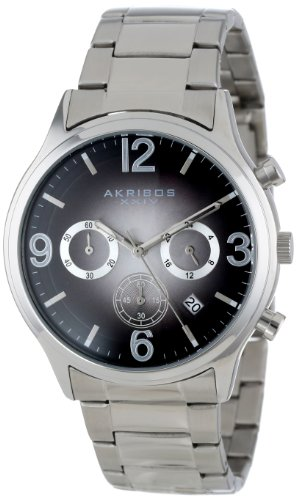 Akribos Xxiv Men'S Ak607Bk Ultimate Chronograph Black Dial Stainless Steel Bracelet Watch