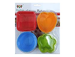Hua You 12 Pieces Non-Stick Silicone Bakeware Baking Cake Moulds - Perfect For Cup Cakes, Muffins