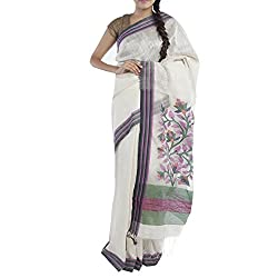 Kiara Crafts Silk Saree (kc-007_White)