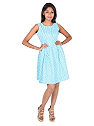 Light Blue Polka dotted Cotton Western Dress