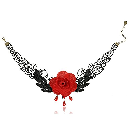 So Beauty Women's Lace Gothic Lolita Sexy Red Rose Rhinestone Pendant Tassel Choker Necklace
