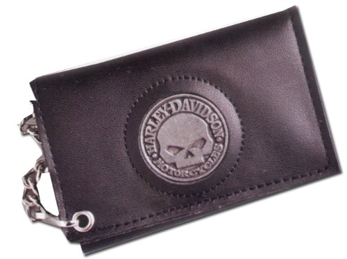Harley-Davidson Skull Medallion Trifold Black Leather Chain Wallet