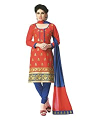 PShopee Red & Blue Cotton Embroidery Unstitched Multistylist Dress Material