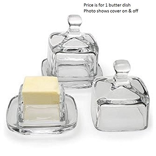 1 X Butter Dish - Square Glass W/cover