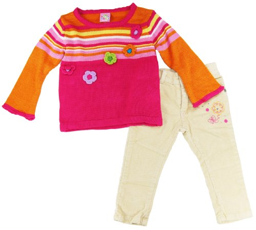Sweet & Soft Infant Baby-girls Striped Flower Cardigan With Corduroy Pants 6-24m Picture