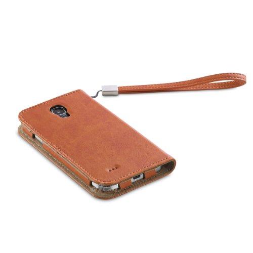 Acase GALAXY S4 ケース PU Leather case PU レザー ケース サイド フリップ ブックタイプ for Samsung GALAXY S4 オレンジ ( ストラップ 付 )