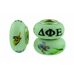 Delta Phi Epsilon Sorority Hand Painted Fenton Glass Bead