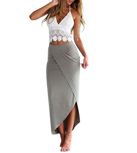 Memorose Womens Two Piece Lace Backless Crop Tops Side Split Long Skirt Dress S (Long Split Maxi Skirt compare prices)