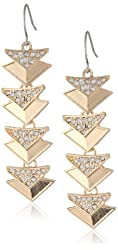 "Kensie ""Naughty and Nice"" Gold-Plated Pave Triangle Drop Earrings"
