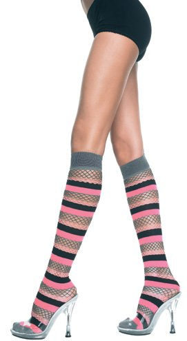 Flirty Multi Striped Fishnet Knee Sock