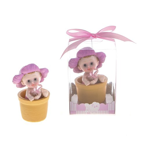 "Lunaura Baby Keepsake - Set of 12 ""Girl"" Baby with Pacifier inside Flower Pot Favors - Pink - 1"