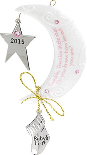 2015 Baby Girl's First Christmas Star/Moon Carlton Ornament