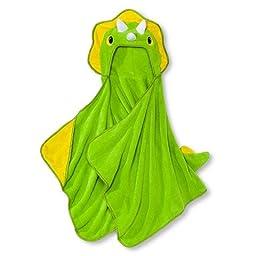 Soft Plush Hooded Towel by Circo (24x52) Machine Washable. (Green Dinosaur)
