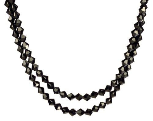 Swarovski Elements Jet Colored 6mm Bead 2-Row Necklace, 24