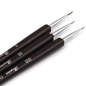 Nail Art Brushes- Professional Nail Art Brushes- Sable Nail Art Brush Pen, Detailer, Liner **Set of 3
