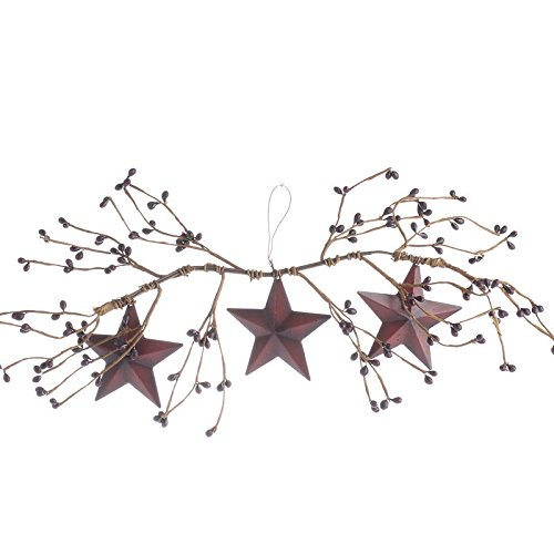 Pair of Decorative Burgundy Pip Berry Swags with Three Hanging Burgundy Barn Stars