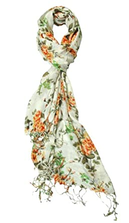 Orange & Green Floral Spring Lightweight Scarf