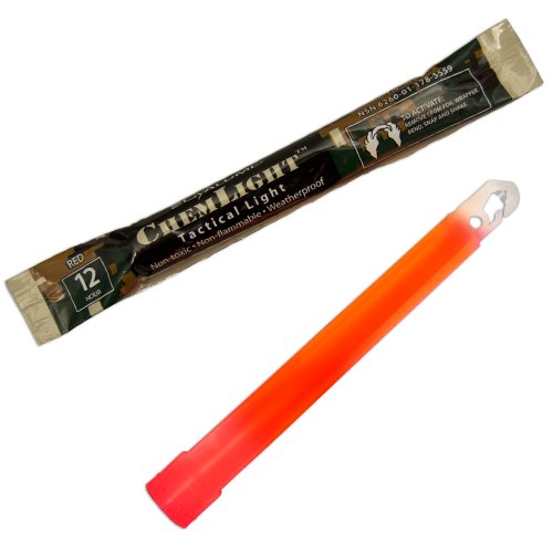 "Cyalume ChemLight Military Grade Chemical Light Sticks, Red, 6"" Long, 12 Hour Duration (Pack of 500)"