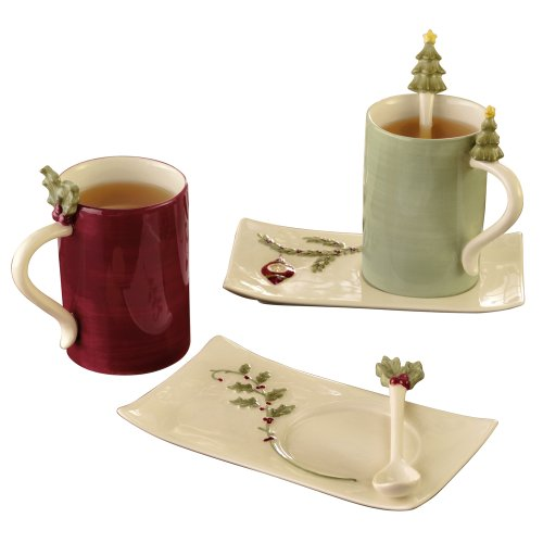 Grasslands Road Deck the Halls Cup and Saucer Set, Set of 4