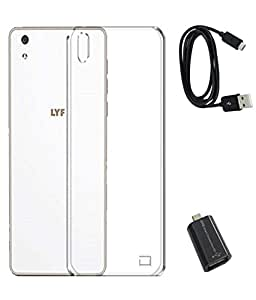 TBZ Transparent Silicon Soft TPU Slim Back Case Cover for Lyf Water 5 with Micro USB OTG Connector Adapter and Data Cable