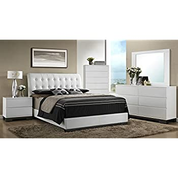 Avery White Queen Bed w/Tufted Faux Leather Headboard by Crown Mark