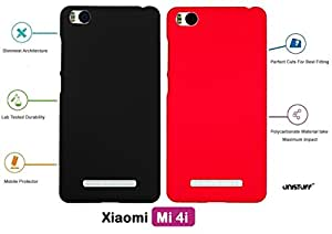For Xiaomi Mi 4i[COMBO OFFER]: Unistuff™ Matte Finish Hard Case Back Cover for Xiaomi Mi 4i [SLIM FIT][FREE SHIPPING] (Black, Red)