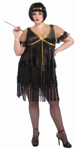 Forum Novelties Plus-Size Roaring 20's Sequin Flapper Dress and Headband Costume