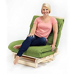 Lime Green Textured Fabric Single Complete Futon (Folding Mattress + Wood Frame)       Customer reviews and more news