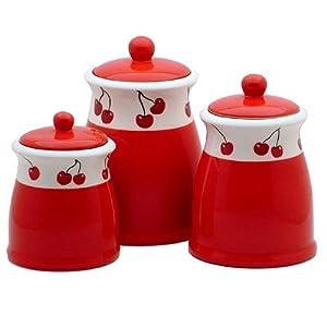 Ronnie's Terramoto Ceramic, 3-Piece Canister Set, Cherries