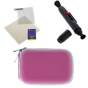 BIRUGEAR Hot Pink Universal Camera Eva Case + Lens Pen + Screen Protector for Sony Cyber-shot TX30 WX300 WX80 TF1 (Waterproof Camera) W730 W710 W670 WX150 TX20 TX66 W690 WX70 W650 W620 W610 TX200V WX50 TX55 WX10 T110 TX100V TX10 HX7V W510 W570 W560 H70 WX9 W530