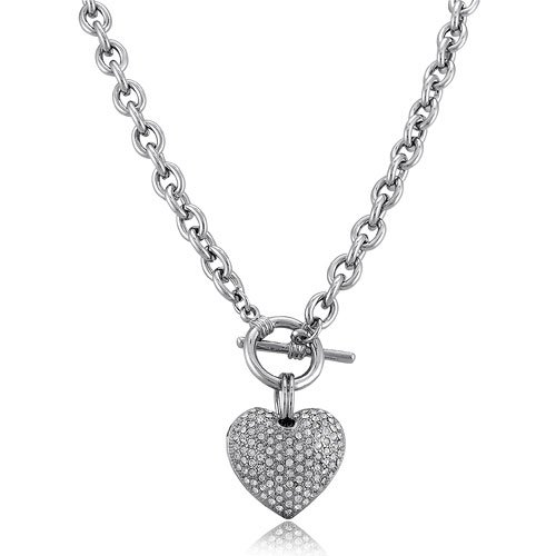 Silver Tone Puffed Heart Pendant Toggle Necklace