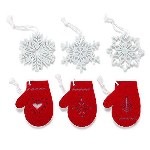 Hallmark Christmas XKT2421 Snowflakes and Mittens Miniature Felt Ornaments