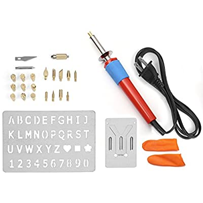 Sparkleberry Wood Burning Kit Bundle with Iron Tool 20 Soldering Tips Stencil Stand Case and Finger Grips