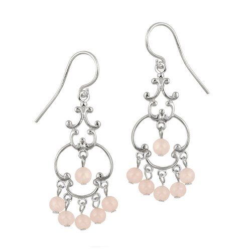 Sterling Silver Fancy Linear Drop French Wire Earrings with 6 Round Rose Quartz Drops