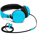 Nokia Coloud Boom Over-Ear Headphones with Integrated Mic and Tangle-Free Cable Compatible with Smartphones, Tablets and MP3 Devices - Cyan Blue