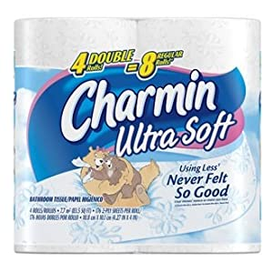 Charmin Ultra Soft, Double Rolls, 4 Count Packs [Amazon Frustration-Free Packaging]