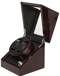 Pateker? Ebony Wood Finish Dual Watch Winder, Black Leather Display Box Case