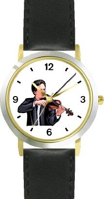 Watchbuddy Male Violin Player Or Violinist Classical Musician - Watchbuddy Deluxe Two-tone Theme Watch - Arabic Numbers - Black Leather Strap-size-lar