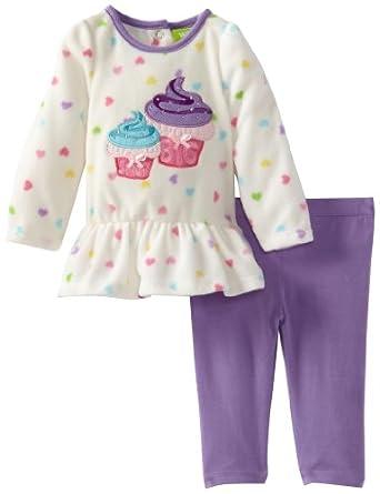 Watch Me Grow! by Sesame Street Baby-girls Newborn 2 Piece Dual Cupcake Dress and Legging, Purple, 6-9 Months