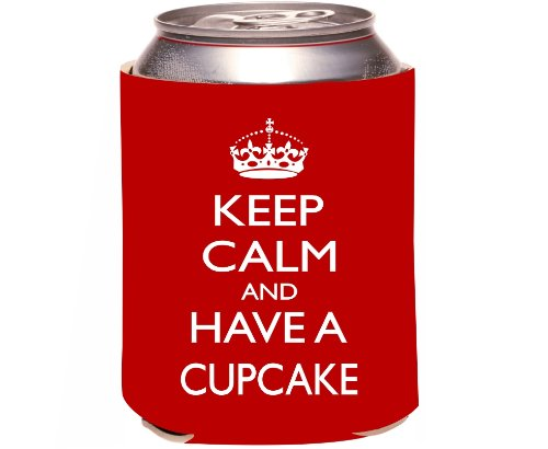 """Rikki Knight """"Keep Calm And Have A Cupcake"""" Beer Can Soda Drinks Cooler Koozie, Red Design front-624395"""
