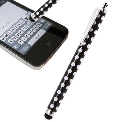 iTALKonline Schwarz Weiß Polka Dots Exekutive-Premium-advanced touch Tip Stylus Pen mit Gummi-Tipp für Samsung Galaxy Tab 2 7.0 P3110
